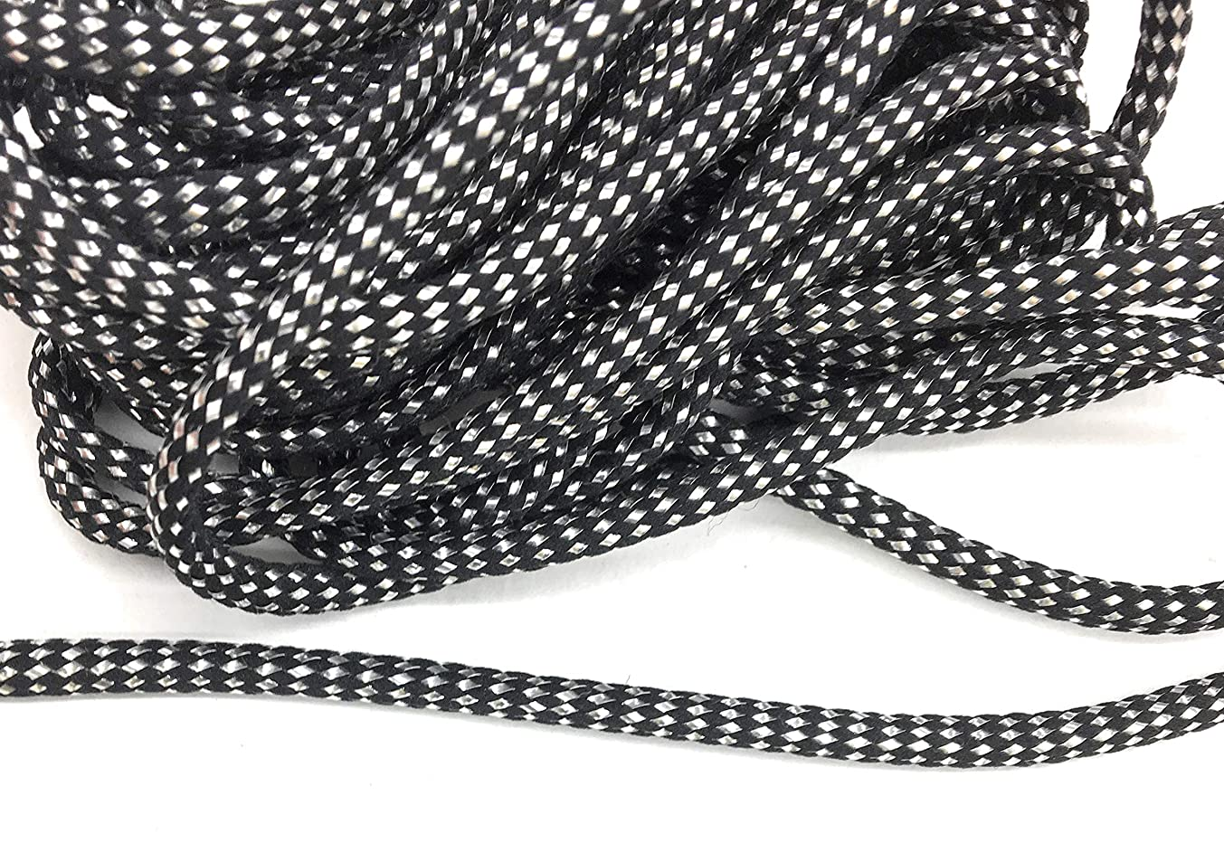 Weave BLACK CORD with SILVER Metallic Trims 5/32