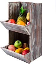 MyGift 2 Tier Rustic Torched Wood Fruit Produce Storage Rack, Wall Mountable Display Bins