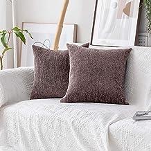 Home Brilliant Decorative European Pillowcase Sham Set of 2 Striped Velvet Chenille Plush Throw Pillow Cover Cushion Cover...
