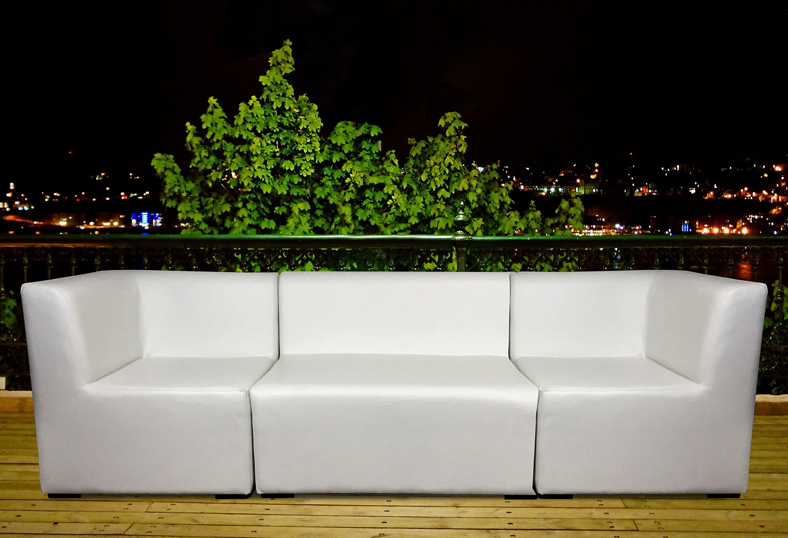 SUENOSZZZ-ESPECIALISTAS DEL DESCANSO Sofa Exterior Modular Benahavis rinconera Color Naranja tapizado en Polipiel Silva. Chill out Jardin o recepcion.: Amazon.es: Hogar
