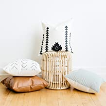 Woven Nook Decorative Throw Pillow Covers Pack of 4 for Couch, Sofa, or Bed Set 100% Cotton Stripes Geometric Faux Leather Amaro Set (18'' x 18'')