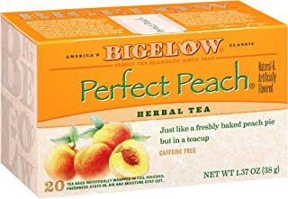 Bigelow Perfect Peach Herbal Tea Bags 20 Count Box (Pack of 6), Caffeine Free Herbal Tea,120 Tea Bags Total