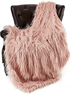 FFLMYUHUL I U Super Soft Faux Fur Throw Blanket & Bedspread Mongolian Fur Blanket Long Faux Fur Blanket Decorative for Bedroom Sofa Floor MT779-A-light Pink