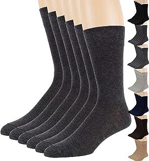 7BigStar Men's Dress Socks Cotton - 6 pack Solid - Brown Beige Blue Black Grey Tan Burgundy Casual Shoe: 6-12 Sock: 10-13