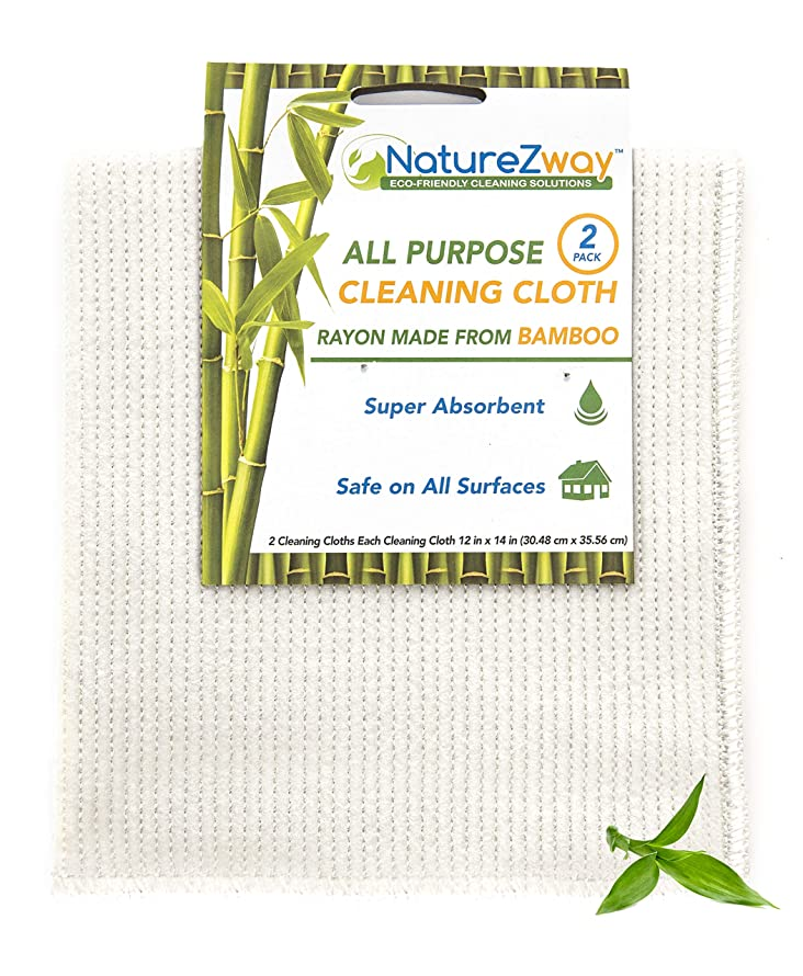 NatureZway Bamboo Cleaning Cloth 12 x 14 | 2-Pack | Natural Bamboo Rayon | Gentle, Soft, Durable | Easy Care & Machine Washable | Environmentally Friendly Product | Case Pack