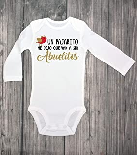 Un pajarito me dijo que van a ser ABUELITOS, baby announcement bodysuit, surprise, guess what, baby coming soon, baby bodysuit, IVF - spanish - pregnancy reveal - grandparents Hola abuelitos