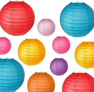 PartyOn!18 Pcs Colorful Paper Lanterns (Multicolor, Size 6