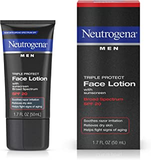 Neutrogena Triple Protect Men's Daily Face Lotion with Broad Spectrum SPF 20 Sunscreen, Men's Anti-Aging Facial Moisturizer to Soothe Razor Irritation & Relieve Dry Skin, 1.7 fl. oz