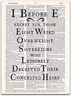 I Before E, Grammar and Spelling Classroom Decor, Dictionary Page Art Print, 8x11 inches, Unframed