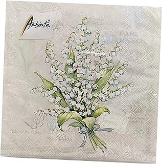 Lily of the Valley Blue Linen Bridal Napkin Blue Floral Print Set of 4 Vintage Spring Luncheon Napkins Mothers Day or Easter Brunch