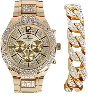 Bold & Powerful Hip Hop Bling! Iced Out Bling Mens Watch w/Ice on Dial and Chrono Look Faux Eyes richly Matched w/Bling Cuban Design Bracelet - 8706B