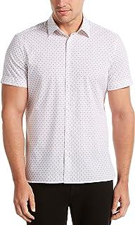 Perry Ellis Men's Geometric Floral Print Stretch Short Sleeve Button-Down Shirt