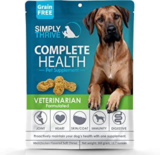 Complete Health Multivitamin Supplement for Dogs   90 ct Soft Chew Treats   Glucosamine Helps with Mobility Hip Joint & Arthritis   Salmon Oil Aids Skin Coat and Heart Health   Includes Probiotics