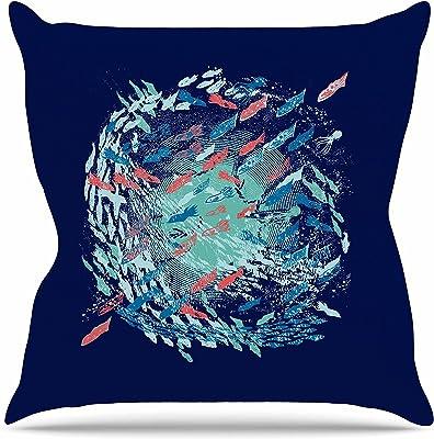 Kess InHouse Frederic Levy-Hadida Them Birds Orange Purple Throw Pillow 26 by 26
