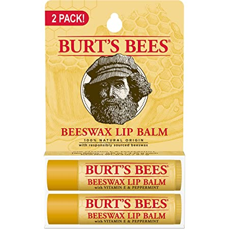 Burt's Bees Lip Balm Stocking Stuffer, Moisturizing Lip Care Holiday Gift, 100% Natural, Original Beeswax with Vitamin E & Peppermint Oil (2 Pack)