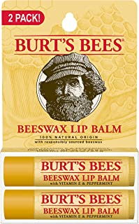 Burt's Bees 100% Natural Origin Moisturizing Lip Balm, Original Beeswax, 2 Tubes in Blister Box