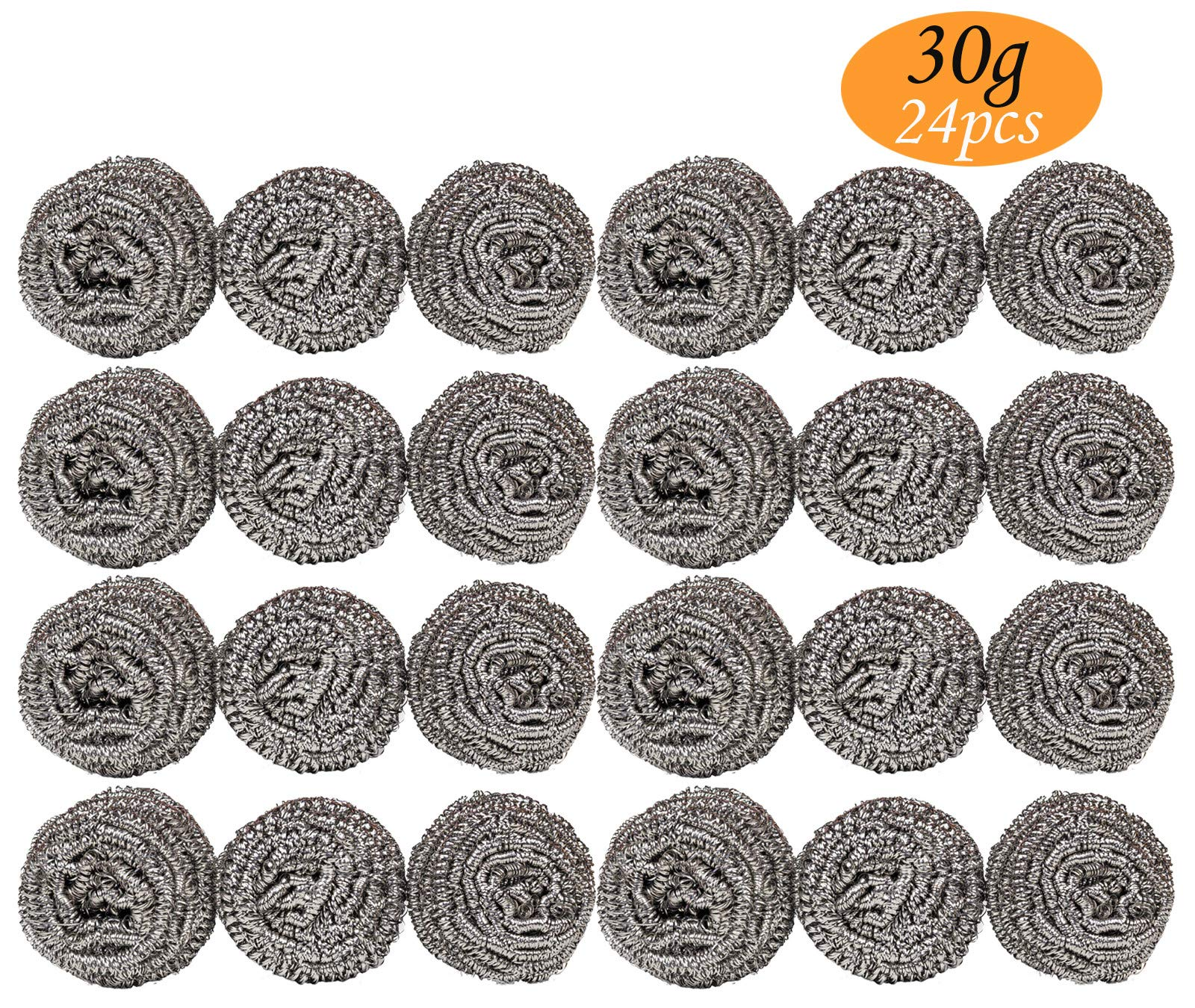 24 Pack 30g Stainless Steel Sponges - Stainless Steel Scouring Pad, Steel Wool Scrubber, Metal Scrubbers for Pans, Steel Wool Soap Pads, Cooking Utensil Cleaning Tools for Kitchens, Bathroom etc
