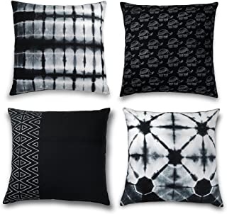 Folkulture Decorative Throw Pillow Covers or Bohemian Cushion Covers for Couch, Sofa, Bedroom Boho Set of 4 18X18 for Home or Farmhouse Decor, Black and White