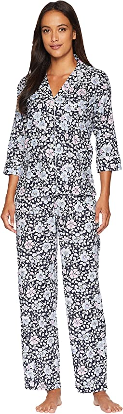 Petite Classic Woven 3/4 Sleeve Pointed Notch Collar Pajama Set