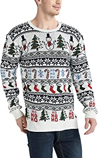 Men's Christmas Rudolph Reindeer Holiday Sweater Cardigan Cute Ugly Pullover