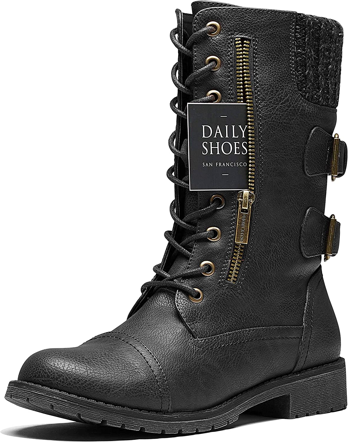 DailyShoes Women's Ankle High Exclusive Credit Card Side Back sweater Pocket Hiking Booties