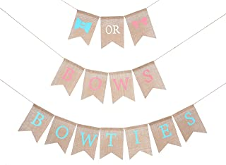 Gender Reveal Party Supplies for Baby - Burlap Banner for Gender Reveal,Bows or Bowties Banner for Party Decorations,Best Baby Shower Decorations,Unique Baby Shower Ideas