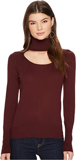 1.STATE - Long Sleeve Scoop Front Turtleneck Sweater