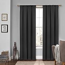 """ستائر نافذة ECLIPSE 15946052063BLK تعتيق غرفة النوم ، لوحة مزدوجة ، 52"""" x 63"""" ، أسود"""
