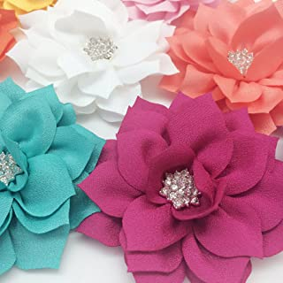 PEPPERLONELY 10PC Set 10 Colors Flat Back Rhinestone Button Center Fabric Flowers, 3 Inch
