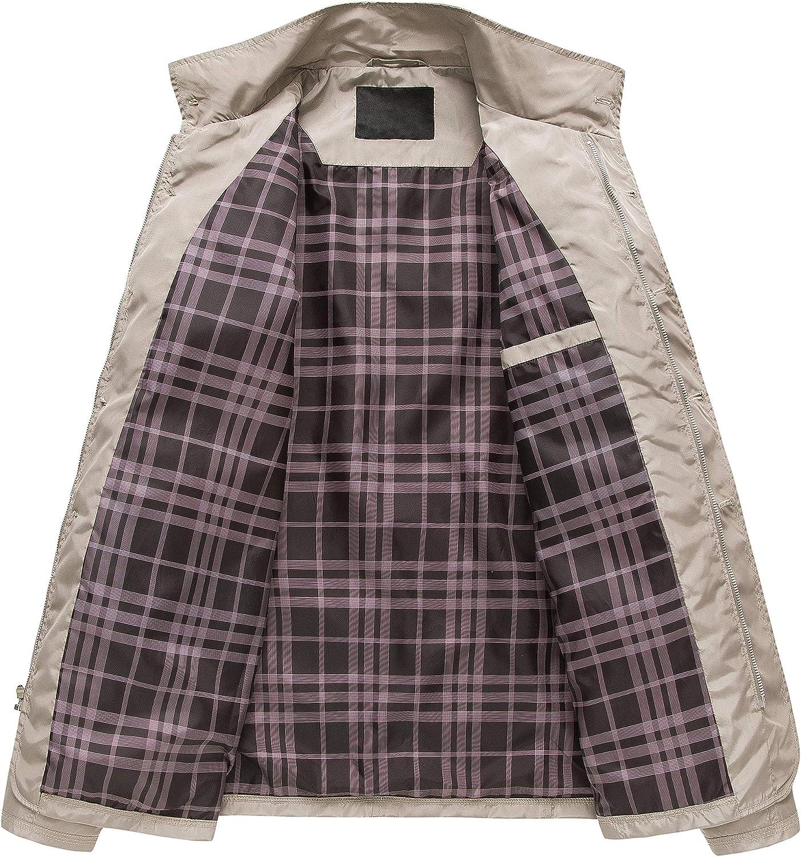 Mens Windbreaker Water Resistant Lightweight Full Zip jacket Work Nylon Anorak