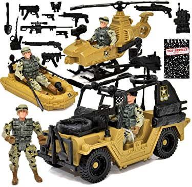 US Army Men Action Figure Playset, Desert Forces and Rescue Team, Military Vehicle, Rescue Boat and Helicopter, 4 Military Men Action Figures with Weapon Accessories and Top Secret Notepad