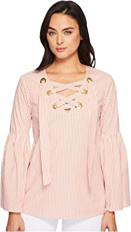 MICHAEL Michael Kors - Yarn-Dyed Stripe Grommet Top