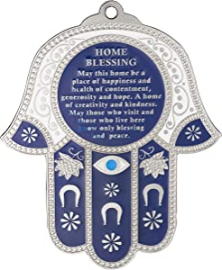 Hamsa Wall Decor Red/Blue Evil Eye Charm Protection Amulet Home/Business Good Luck Charms in English/Hebrew Blessings (Blue/White with Eye, English Blessing)