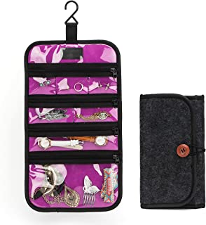 PACMAXI Travel Jewelry Organizer Roll for Necklace, Earrings, Rings, Bracelets,Hanging Jewelry Bag with Zippered Compartments (Purple)