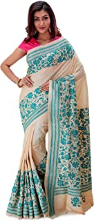 SareesofBengal Women's Gachi Tussar/Kosa Silk Handloom Kantha Stitch Saree Cream Colour And Sea Green