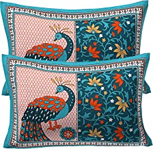 RajasthaniKart Cotton Ethnic Print Pillow Cover (Multicolour) - Set of 2