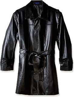 معطف رجالي من STACY ADAMS كبير وطويل من الجلد الصناعي بحزام للخصر