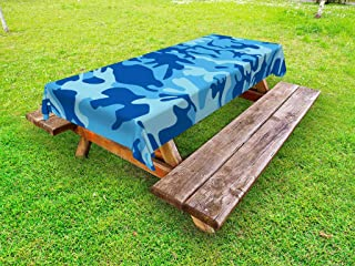 Ambesonne Camouflage Outdoor Tablecloth, Abstract Camouflage Costume Concealment from The Enemy Hiding Pattern, Decorative Washable Picnic Table Cloth, 58