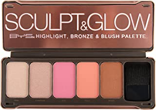BYS Sculpt & Glow- Highlight, Bronze & Blush Palette with Brush and Mirror- Pearl, Champagne, Rose, Peach, Bronze, Illuminate makeup