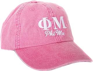 Phi Mu (S) Embroidered Baseball Hat Cap Cursive Name Font Adjustable Leather Strap