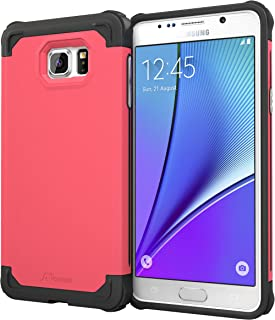 Note 5 Case, Samsung Galaxy Note 5 Case, rooCASE [Mil-Spec MIL-STD-810G 810F] Exec Tough PRO Hybrid Drop Protection Heavy Duty Slim Fit Lightweight Armor Cover, Pink