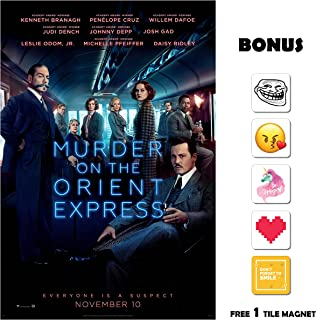 Movie Poster Murder On The Orient Express (2017) - Main - 13 in x 19 in Flyer Borderless + Free 1 Tile Magnet