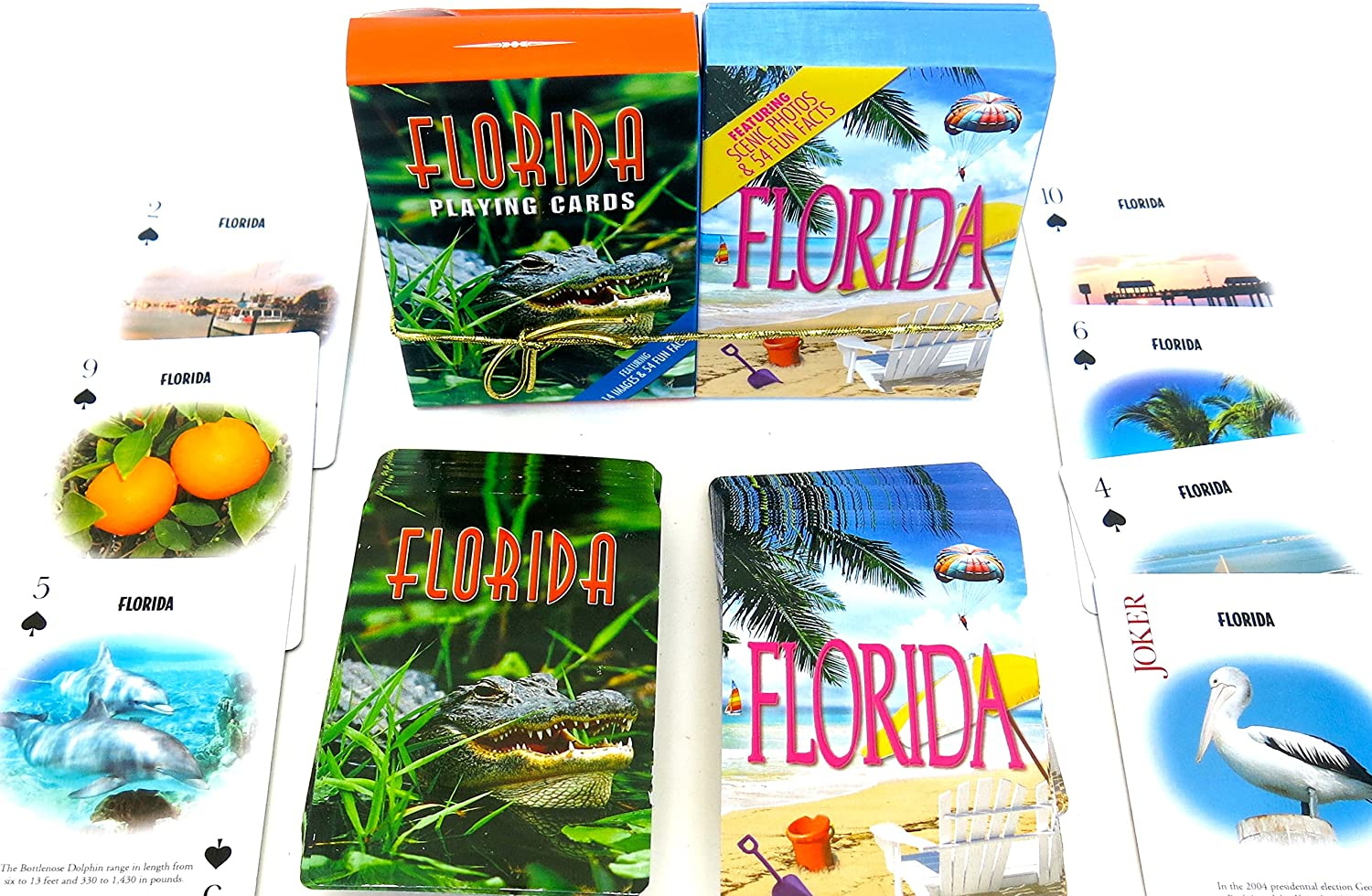 Florida, Souvenir Playing Cards, Vacation Gift. Card Faces Feature Multiple Landmarks, Ousttanding Tourist Gift. The Two Deck Set Includes a gold Gift Ribbon, Beach