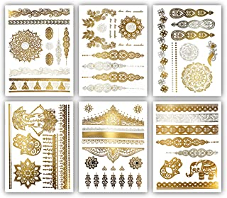 Terra Tattoos Temporary Henna Metallic Tattoos - Over 75 Mandala Tattoos (Gold)