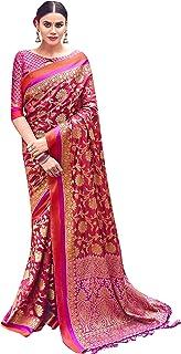 Sarees For Women Banarasi Art Silk Woven Saree, Ethnic Indian Wedding Gift Sari with Unstitched Blouse
