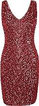 PrettyGuide Women's Sexy Deep V Neck Sequin Glitter Bodycon Stretchy Mini Party Dress