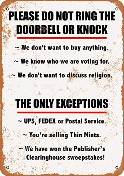Wall Color 9 X 12 Metal Sign Please Do Not Ring Doorbell Or Knock Because Vintage Look