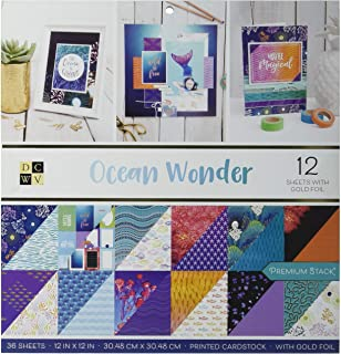 DCWVE Die Cuts with A View Premium Stack-12 x 12-Double-Sided-Ocean Wonder-Gold Foil-36 Sheets 614320, Multicolor