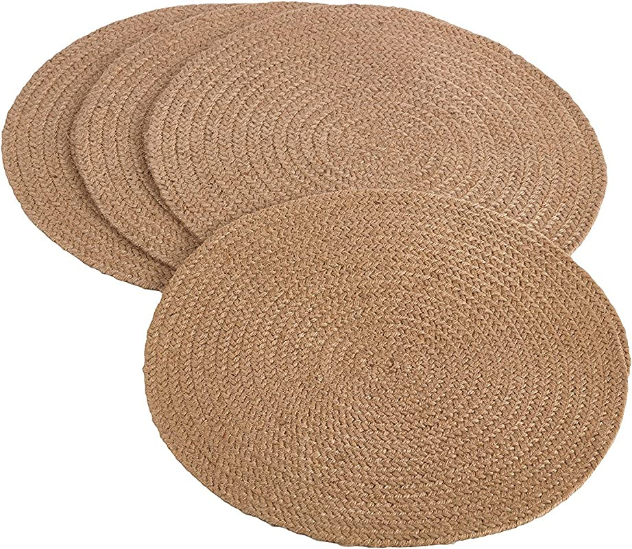 Fennco Styles Jute Natural Design 15 Inch Round Placemat Set Of 4
