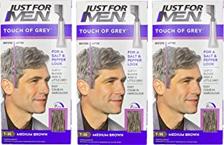 3 x Touch Of Grey Mens Hair Treatment Colour - Brown Grey T35